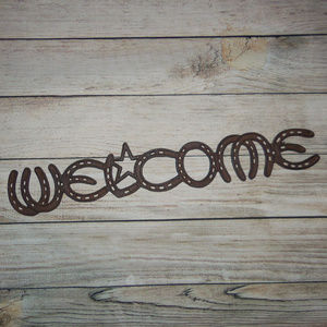 Metal Horse Shoe Welcome Sign With Star